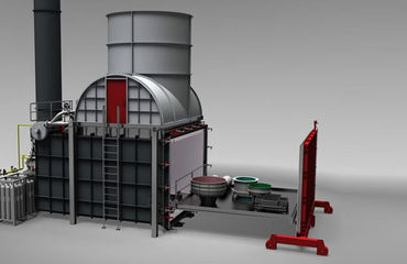 Industrial furnace system for thermal decoating of large components - furnace chamber >80m³