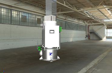 Thermal post-combustion plant in smallest format for a raw gas load of 2 kg/h
